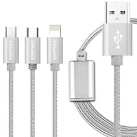 USB кабель Awei CL-970 iPhone Lightning microUSB Type-C 3 в 1 серебристый